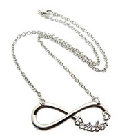 """Belieber Heart Infinity Loop Pendant 3mm 18"""" Link Chain Necklace in Silver-Tone"""