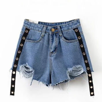 Blue High Waist Eyelet Raw Hem Denim Shorts
