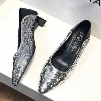 LOEWE 2018 new fish scale sequins step with Muller lazy shoes F-RCSTXC