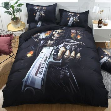 Bedding Outlet 3D Skull Bedding Set Soft Bedclothes Print Duvet Cover Set with Pillowcases 2/3pcs Bed Set Home( NO Comforter and
