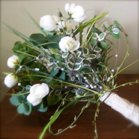 FREE SHIPPING Woodland Greenery Bridal Bouquet with Pearl Accents - wrapped stems with natural linen pearl pins eucalyptus fern grass white