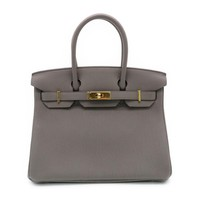 Hermes Birkin 30 Gold Metal Handbag Tote Bag Togo Leather Etain Grey 4284