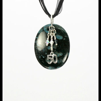 """FIFTY SHADES of GREY Inspired Charisma Stone Pendant - Tibetan Silver """"50"""" Charm; 3 Crystals: Grey, White, Clear; Silver/Black Wire - cs1164"""