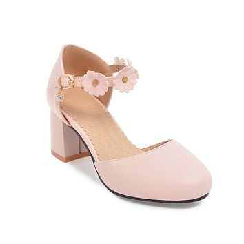 Flower Ankle Strap Chunky Heel Sandals Summer Shoes 3682