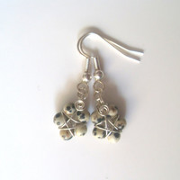 Handmade Silver Plated Dalmation Jasper Wire Wrapped Pentagram Earrings. Pentacle Earrings, Wiccan Jewelry, Pagan Symbol