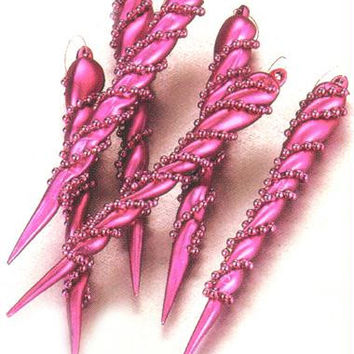 6 Christmas Ornaments - Fuchsia Beaded Icicle