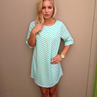 Mint & White Small Chevron Print Shift Dress
