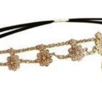 ac NOVQ2A Europe and the United States new jewelry jewelry inlaid bohemian forehead pearl rhinestone flower hair band