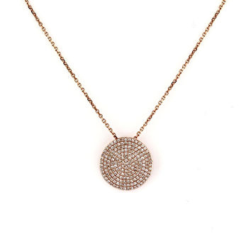 0.53ct Micro Pavé Round Diamonds in 14K Gold Round Diamonds Small Disc Pendant Necklace