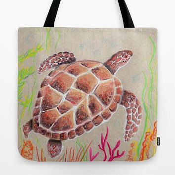 Sea Turtle Tote Bag, brown and tan, ocean design beautiful, gift, beach bag, book bag, yoga tote, travel, resort,  accessories