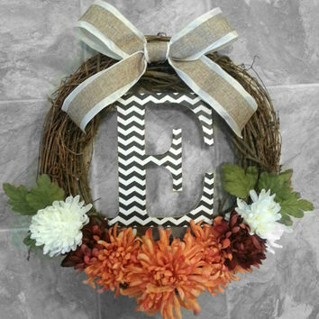 Grapevine Wreath with Fall Floral, A Chevron Initial and a Satin & Burlap Bow
