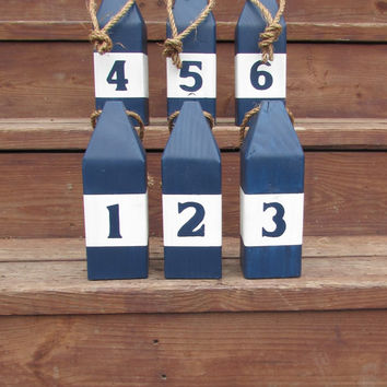 Set of 6 buoys. 10 inch Nautical Table Numbers. Nautical Wedding Decor. Beach wedding. Reclaimed wood buoys. Lake Decor. Made to Order
