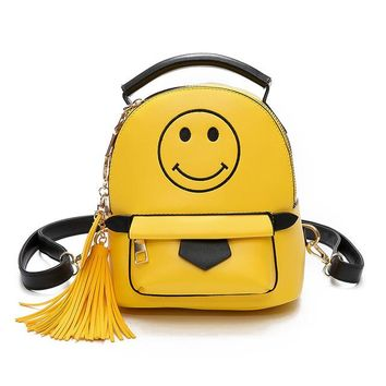 Women Fashion Tassel Leather Bags Yellow Smile Backpack Cute Small  for Girls Backpacks Ladies