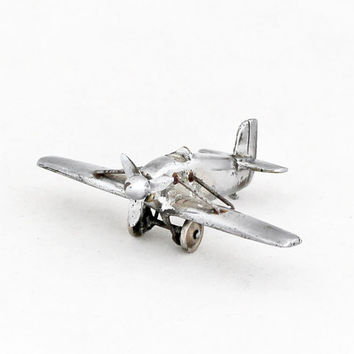Petit Art Deco Airplane Aircraft  Brass Miniature Plane