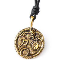 Yin Yang Dragon Handmade Brass Necklace Pendant Jewelry
