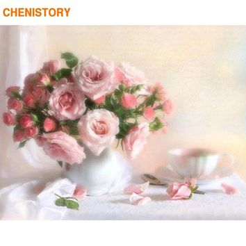 CHENISTORY Frameless Pink Rose Flower DIY Painting By Numbers Modern Wall Art Canvas Paint By Numbers Kits Unique Gift For Home