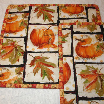 Fall Autumn Pumpkin Snack Mat Mug Rug Mini Quilts - Set of 2 - Orange, White, Green - Pumpkin, Leaves