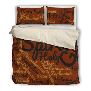 Cool Brown Holy Bible Books Beige Bedding Set