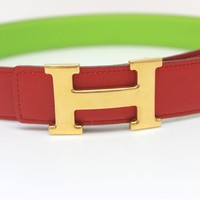 AUTHENTIC HERMES H Belt Reversible Belt Red/Apple Green Swift
