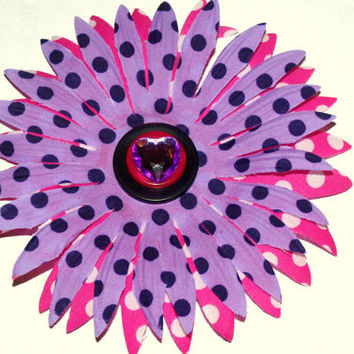 Pink and purple polka dot hair flower- girl hair accessories- summer floral