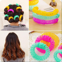 8 Pcs DIY Hairdress Magic Donuts Bendy Hair Roller Styling Curler Spiral Curls Tool For Woman NA928