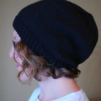 Hand Knit Slouch Hat Organic Cotton - The Wilson Hat - Black - Ready To Ship