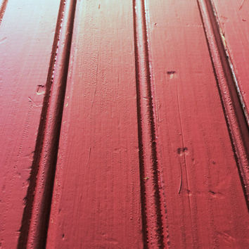 Dark Red Repainted Vintage Beadboard