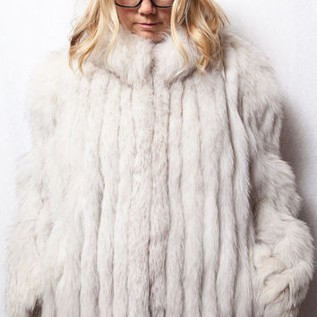 Saga Fox Fur Coat, Medium Real White Fox Fur Coat, Winter Wedding Fur Coat, Saga Fox Arctic Fur Coat