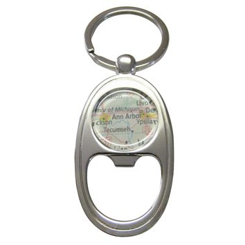 Ann Arbor Michigan Map Key Chain Bottle Opener