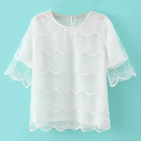White Lace Panel Chiffon T-Shirt