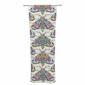 "Amanda Lane ""Boho Gypsy Moth"" Multicolor Digital Illustration Decorative Sheer Curtain"