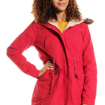 Red Fishtail Fur Hooded Parka