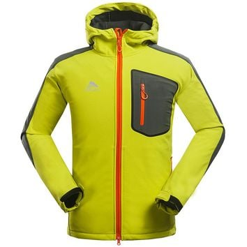 Hot Water Resistant Skiing Camping Coat Hiking Climbing Softshell Outdoor Jacket Men Windstopper Fleece Lining