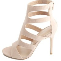 Cut-Out Caged Single Sole Heels by Charlotte Russe - Nude