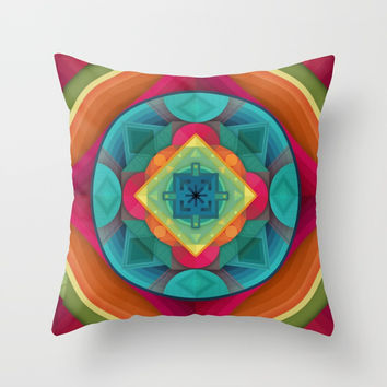 Geometric Mandala Tie Dye Colorful Pattern Abstract Design Throw Pillow by AEJ Design