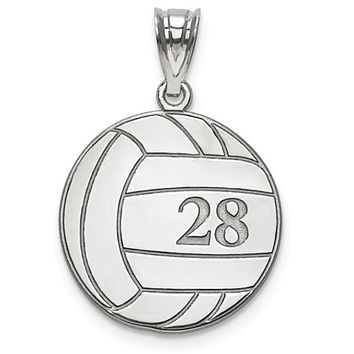 925 Sterling Silver Custom Volleyball Charm