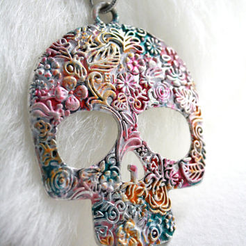Colorful Sugar Skull Pendant - Long Necklace - Mexican Jewelry - Dia De Los Muertos