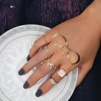 Bohemian Vintage Gold Silver Leaf Style Crystal Rhinestone Ring 5pcs/Sets