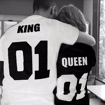 2017 New European Style King Queen 01 Letter All Match Summer Top Tees Print t shirt Men Cotton Casual Women O Neck T-Shirts