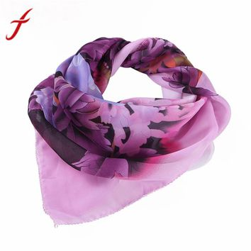 Feitong 60*60cm Fashion Chiffon Square Scarf For Women Flower Printing Profession Head Wrap Kerchief Neck Shawl hijab scarf