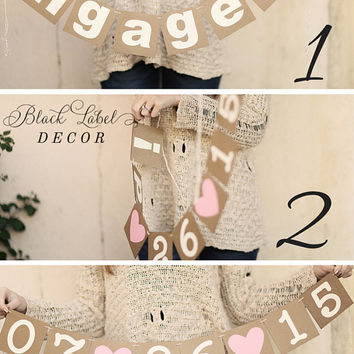 REVERSIBLE Engaged! and Wedding Date Banner/ Wedding Sign/ Engagement Photo Shoot/ Prop / Save the date photos / custom colors