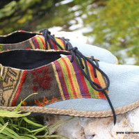 Vegan Oxford Men's Shoes In Natural Hemp & Laos Tribal Embroidery