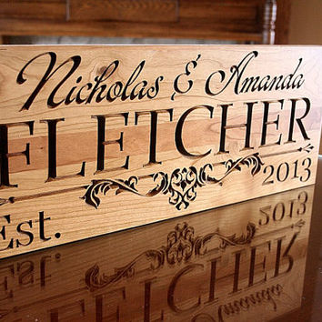 Wedding Anniversary Gift Rustic Home Decor Sign 5yr Anniversary Gift Man Cave Decor Custom Wood Sign Personalized Name Sign Cherry IG