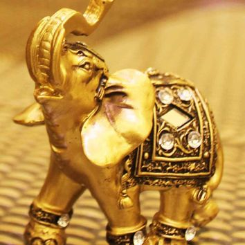 Golden Elephant Figurine Resin Lucky Elephant Statues