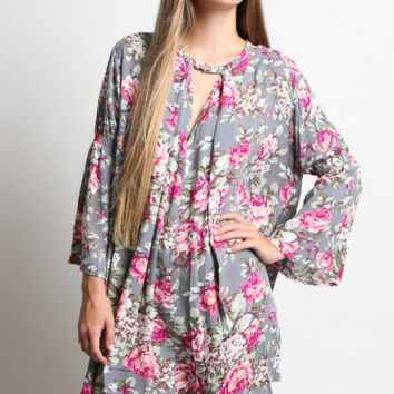 Umgee Floral Print Trapeze Dress