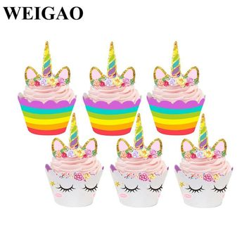 WEIGAO 48Pcs Birthday Party Rainbow Unicorn Cake Toppers Cupcake Wrappers 15Pcs Unicorn Theme Party Balloons Baby Shower Gifts