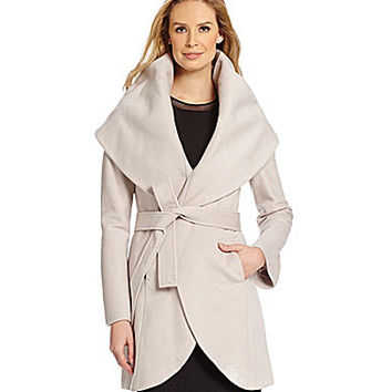 T Tahari Marla Shawl Collar Wool-Blend Wrap Coat