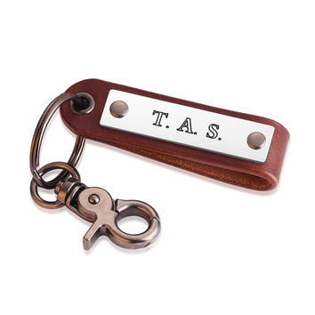 Personalized Leather Key ring - Men's Leather Keychain - Anniversary Gift  - Graduation Gift - Groomsmen Gift