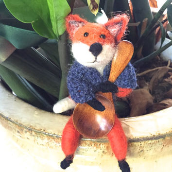 Animal Kitchen Decor animal , Needle felted fox kitchen decor , needle felt red fox spoon cook gift idea fox Chef figurine cooking cute wool