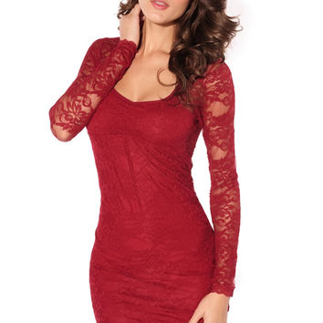 Red Long Sleeves Lace Dress Argenteous